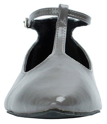 Scarpe Da Donna Con Cinturino Alla Caviglia Mary Jane Con Zeppa Nascosta Grigio