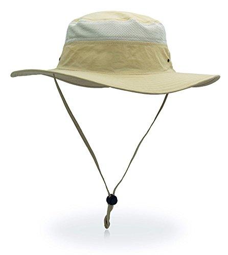 YOYEAH UPF 50+ Wide Brim Sun Protection Hat Outdoor Mesh Sun Hat Windproof Fishing Hats Light Khaki