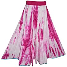 Mogul Womens Bohemian Skirt Pink Tie-dye Summer Splash Long Flared Skirts