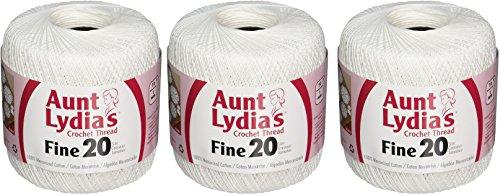 Coats Crochet Aunt Lydia's Crochet, Cotton Fine Size 20, White (3 Pack) by Coats Crochet