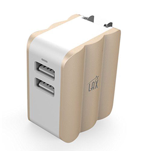 LAX Dual USB AC Power Adapter with Smart iQ Technology - Plug-In Adapter Rapic Charge 3.4A - for iPhone X 8 7 7Plus 6S 6S+, 6 6Plus, iPad Air/Mini, Samsung Galaxy S6, S6 Edge, HTC M9 and More [Gold]
