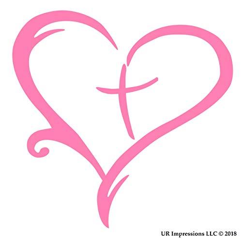 (UR Impressions Pnk Heart Cross Christian Decal Vinyl Sticker Graphics for Cars Trucks SUV Vans Walls Windows Laptop|Pink|5.5 Inch|URI036-P )