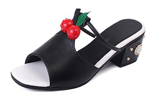 mujeres de las sandalias romanas en verano con sandalias y zapatillas palabra arrastre sandalias con ms de la manera gruesa Black