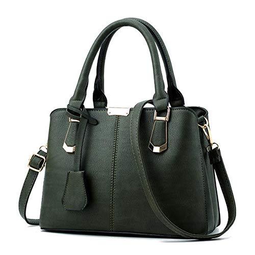54cd8d4133 hot brand name tote satchel sac women bag lady handbag ol style shoulder  bags casual zipper messenger bags pu leather bag green 27x19x14  Amazon.in   Shoes   ...