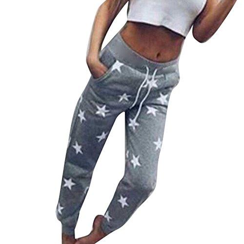 Pantalons de survtement pour femme - hibote Slim Fit Casual Star Imprimer Pantalon de danse Joggers Pantalons de loisirs Gris