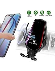 Car Phone Holder with QI Wireless Fast Charging Infrared Smart Sensor Auto Clamping Vent phone GPS holder Black for iPhone 11/11 Pro/11 Pro Max/Xs Max/Xr/Xs/X/8/8 Plus/Samsung Galaxy S10 S9 S8 Note 10, 8, 9