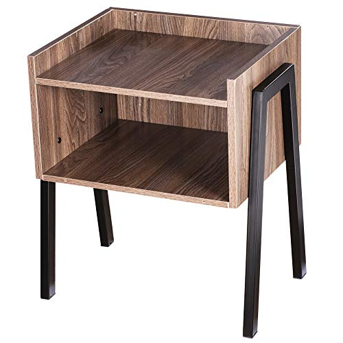 Plemo NightStand Vintage End Table Easy Assembly with Sturdy Metal Frame, Cabinet for Storage for Living Room and Bedroom 20.7Inch H