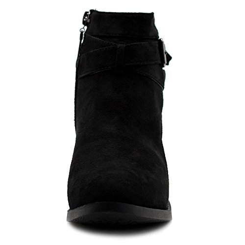 Faux Straps Suede Shoes Heel Boots Ankle Black Buckle Ollio Women's Stacked FwCqF1An