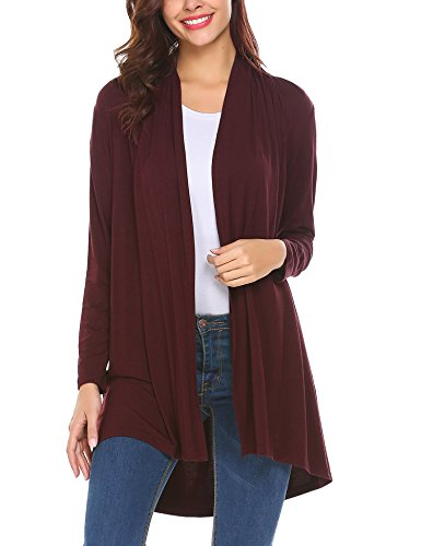 Front Jersey Cardigan (Venena Women's Open Front Lightweight Jersey Classic Long Sleeve Cardigan)
