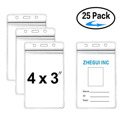 Badge Holder 4x3 Large Vertical Clear Name Tag Badge ID Holders Waterproof 25 Pack by ZHEGUI (1 3x4)