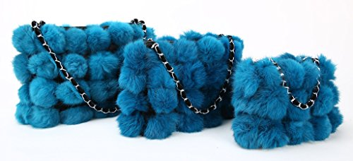 Cálido Conejo Venda Más Invierno Pelaje m Vogueearth Mujer'real Azul XSZWq
