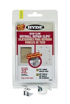 Hyde Tools 9038 1/2-Inch Bear Claw Drywall Repair Clip, 50-Pack