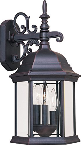 Maxim 1073CLEB Builder Cast 3-Light Outdoor Wall Mount, Empire Bronze Finish, Clear Glass, CA Incandescent Incandescent Bulb , 2.5W Max., Dry Safety Rating, 3000K Color Temp, Standard Triac/Lutron or Leviton -