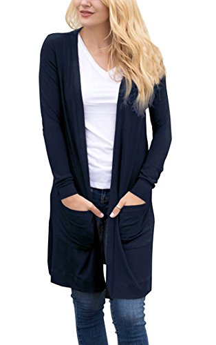 - Tribear Women's Long Sleeve Open Front Loose Causal Lightweight Kimono Cardigan(NavyBlue,Medium)