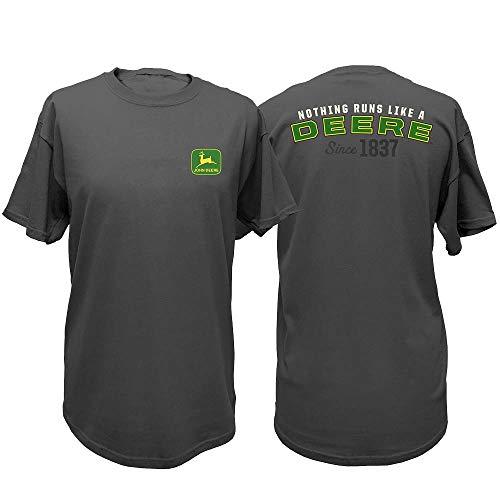 John Deere Western Shirt Mens Short Sleeve NRLAD M Charcoal 13001801 - Deere A Like Nothing Runs T-shirt