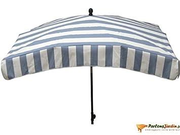 Parasol rectangulaire Cabourg Nuage bleu et blanc 200x140cm