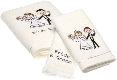 Groom Bride Bath - Avanti Linens Bride & Groom Bath Towel, Hand Towel, Fingertip Towel Set, White