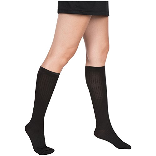 EvoNation Women's USA Made Graduated Compression Socks 20-30 mmHg Firm Pressure Medical Quality Ladies Knee High Support Stockings Hose - Best Comfort Fit, Circulation, Travel (XL, Black) by EvoNation (Image #2)