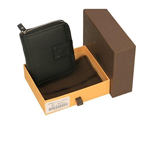 Chicca Borse Geldbörsen aus echtem italienischem Leder 11x10x3 Cm schwarz