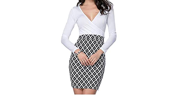 Amazon.com: Sexy V Neck Bodycon Night Out Club Dresses Long Sleeve Hot Evening Cocktail Party Mini Work Dress Womens: Clothing