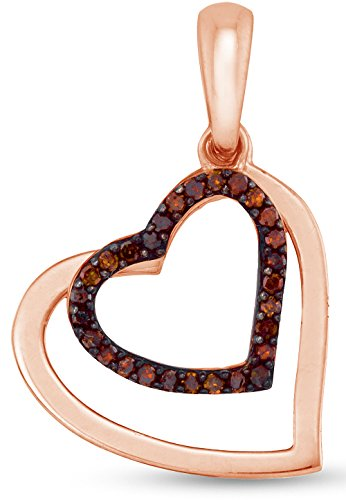 10K Rose Gold Channel Set Chocolate Brown Heart Halo Diamond Pendant Charm (1/10 cttw.)