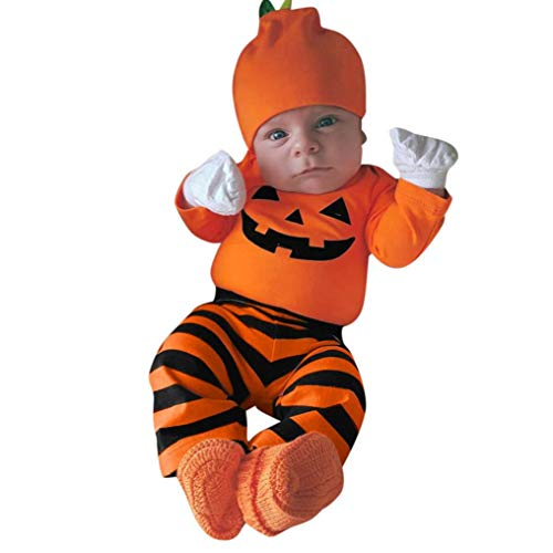 Fiaya Halloween Outfits Infant Baby Girls Boys 3Pcs Pumpkin Face Romper Jumpsuit Long Pants Hat Set | NB-24M (Orange, 0-6 Months)]()