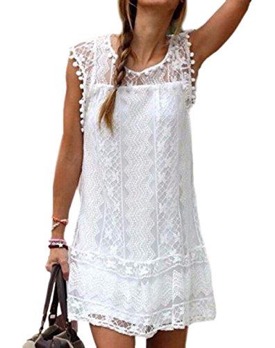 Donne Signore Abiti Vestito Camicette Stückeln Bianco del Mini Girocollo Vestono Cava Pizzo DATO Maniche pqa8AFYqw
