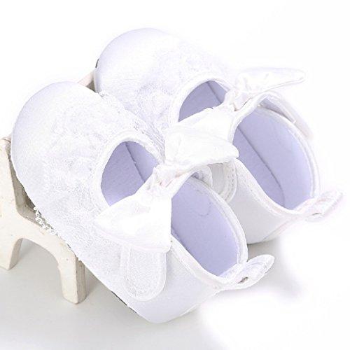 Zapatos de bebé Auxma Zapatos para niños pequeños,Zapatos lindos suaves de la princesa del cordón lindo del bebé Para 0-18 mes Blanco