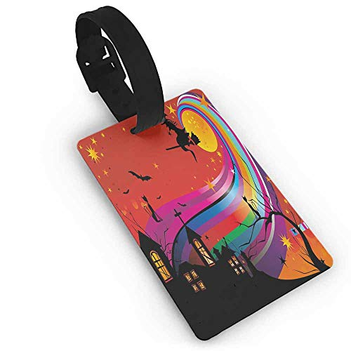Small luggage tag,Halloween,Witch Woman on Broomstick Bats Cat