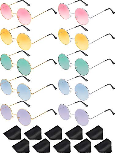 33615f172ab8 Blulu 10 Pairs Round Hippie Sunglasses John 60's Style Circle Colored  Glasses (Gold Silver Frame