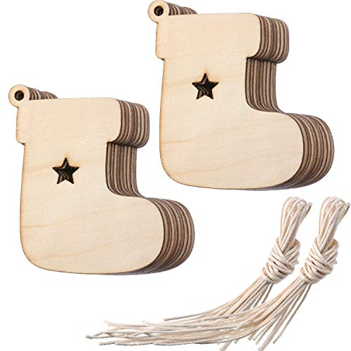 Tatuo Wooden Stocking Cutouts Christmas Ornaments Hanging Wood Decorations for Christmas Embellishments Craft, Pack of -