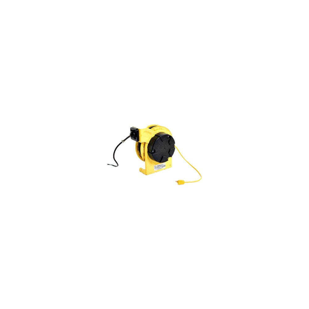 Woodhead 980-271US Cord Reel With Light, Standard Duty, 100W Incandescent Lamp Wattage, NEMA 5-15 Convenience Outlet On Handle, 16/3 SJTOW Cable Type, 50ft Cable Length