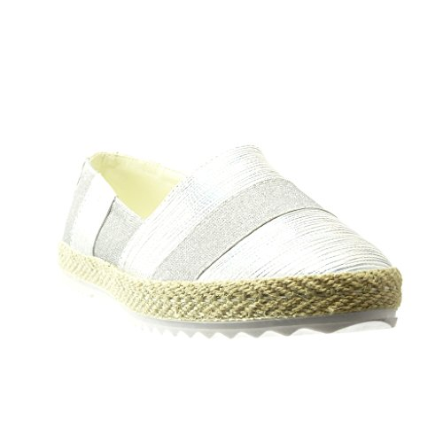Angkorly - Chaussure Mode Espadrille Mocassin semelle basket femme lignes corde Talon plat 2.5 CM - Argent