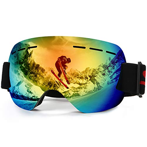 WELLVO Ski Goggles Snowboard Goggles Anti-Fog UV Protection Frameless Snow Goggles for Men Women Helmet Compatible