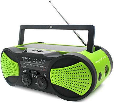 SOS Alarm 1W Flashlight 4LED Reading Lamp,1W Solar Panel Charger RunningSnail AM//FM Emergency Radio with 4000mAh Battery Audio Speaker Orange Crank Radio NOAA Weather Radio