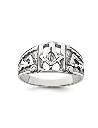 IceCarats® Designer Jewelry Sterling Silver Antiqued Masonic Ring