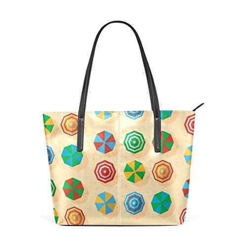 COOSUN Playa de color quitasoles PU del patrón de cuero bolso monedero y bolsos de la bolsa de asas para las mujeres Medio muticolour