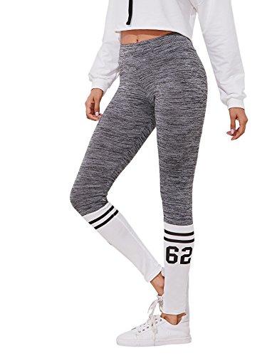 SweatyRocks Leggings Yoga Jogger Pants Sport Tights Striped Side Leggings Color Block L (Color Block Tights)