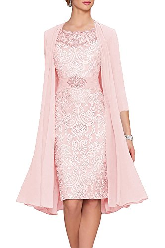 - APXPF Women's Tea Length Mother of The Bride Dresses Two Pieces with Jacket Pink US14