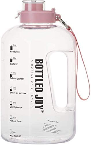BOTTLED JOY Half Gallon Water Bottle with Straw Lid, BPA Free 75oz Large Water Bottle Hydration with Motivational Time Mark Leak-Proof Drinking 2.2L Water Bottle for Camping Workouts and Outdoor