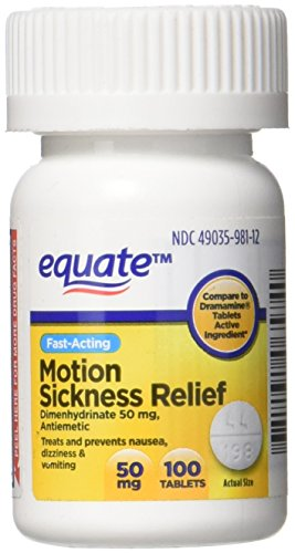 Equate Motion Sickness Relief Tablets, 100 count 50 mg