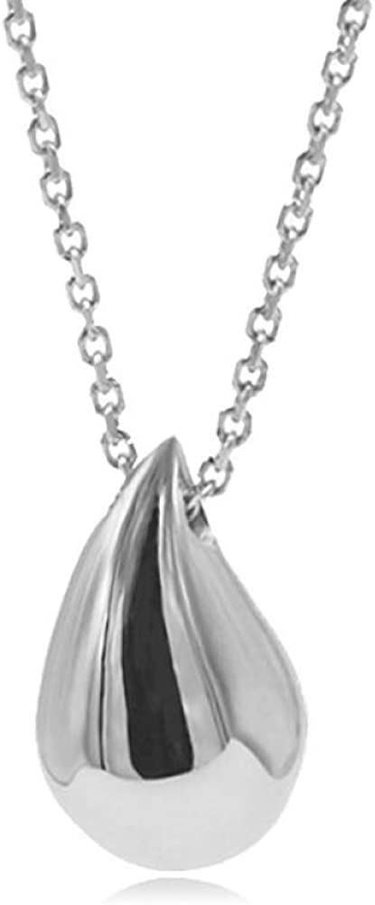 QFERW Collar 2019 Nuevo Collar Colgante de Gota de Agua de Plata esterlina 925s para Mujer joyería de Cadenas deeslabones deOro Blanco de Oro de 18 Quilates