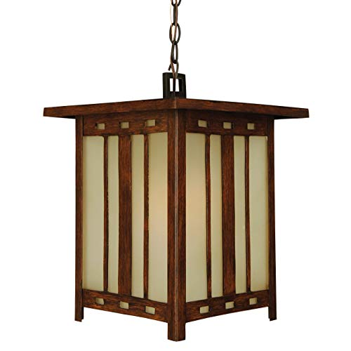 Craftmade Z3921-92 Hanging Lantern with Tea-Stained Glass Shades, Teak Finish