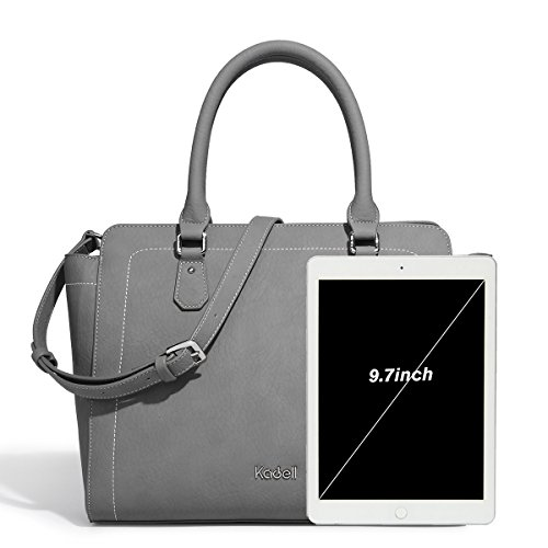 Vintage Grey Bags zipper Kadell Casual Shoulder Top Soft Large Retro Purse White Handle Womens Handbags Capacity Tote Leather SaWAq0