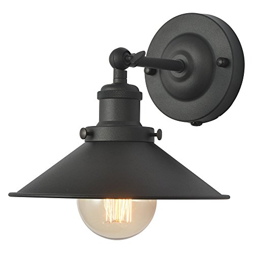 XIDING Premium Retro Industrial Edison Simplicity Metal Wall Sconce Light Fixture,Upgrade Black Finish Shade Vintage Swing Arm Wall Lamp, E26 Base, 1 Light by XIDING