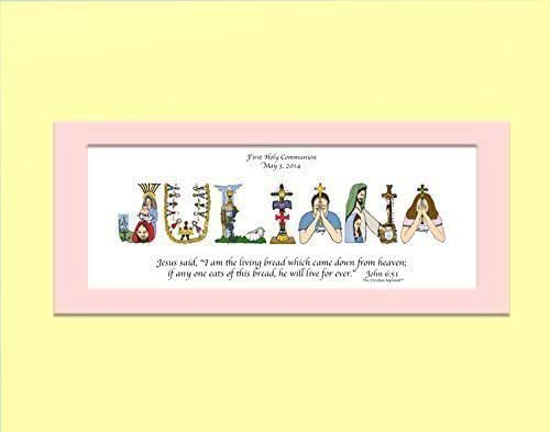 First Communion Gifts for boys and girls - Personalized First Communion from The Christian Alphabet - 10x20 MATTED ONLY and ready-to-frame - personalized artwork - FREE SHIPPING AVAILABLE
