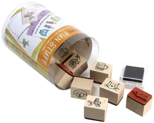 (Hero Arts LL330 Fun Stuff Woodblock Stamps and Black Ink Pad Cube)