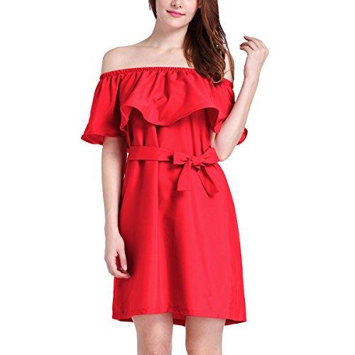Robe Swing D'été Des Femmes Volants De L'épaule Une Ligne Casual Robe Courte Solide Rouge