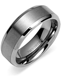 8mm tungsten carbide mens wedding band ring in comfort fit and matte finish sizes 5 to