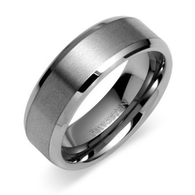 Beveled Edge Center Brushed Finish 8mm Comfort Fit Mens Tungsten Carbide Wedding Band Ring Sizes 8